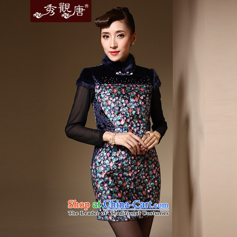Sau Kwun Tong Fong rain qipao new 2014 winter clothing saika Chinese gross for sexy qipao skirt QM3932 folder cotton jacquard yarn-燲L