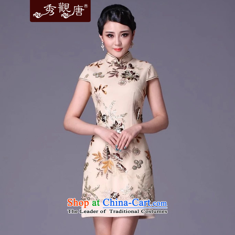 Sau Kwun Tong spend of thick 2014 new winter clothing cheongsam dress and the relatively short time, the improvement of nostalgia G99215 qipao m White燲L