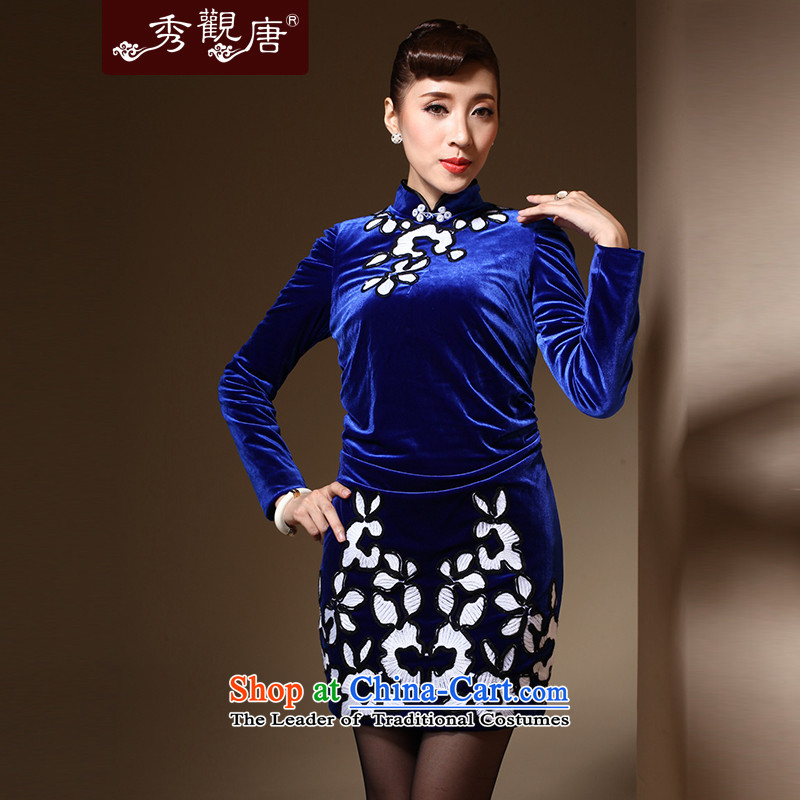 Sau Kwun Tong Aikyo 2014 autumn and winter new upscale scouring pads after chancing retro long-sleeved embroidery cheongsam dress QC31031 BLUE聽XL