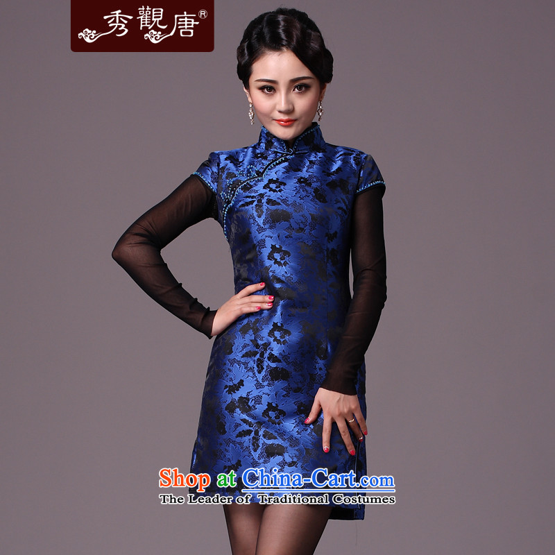 Sau Kwun Tong Blue Night Heung-winter folder_winter cotton qipao 2015 new improved cheongsam dress retro G97129 BLUE聽L