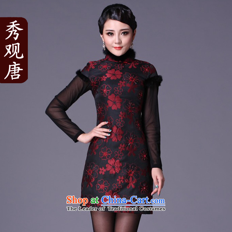 Sau Kwun Tong also improved stylish spend a qipao聽2015 winter clothing new rabbit hair clip cotton dress G99212 dark red聽XXL