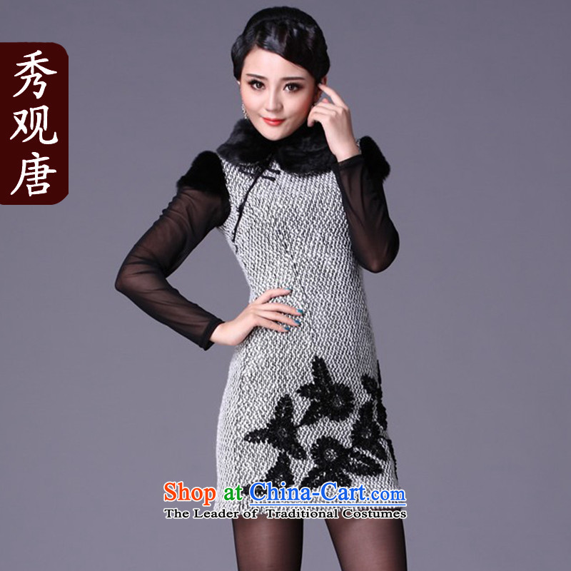 Sau Kwun Tong pieces of 2015 winter clothing new cheongsam_autumn and winter improved stylish temperament cheongsam dress _G19113 picture color聽XL