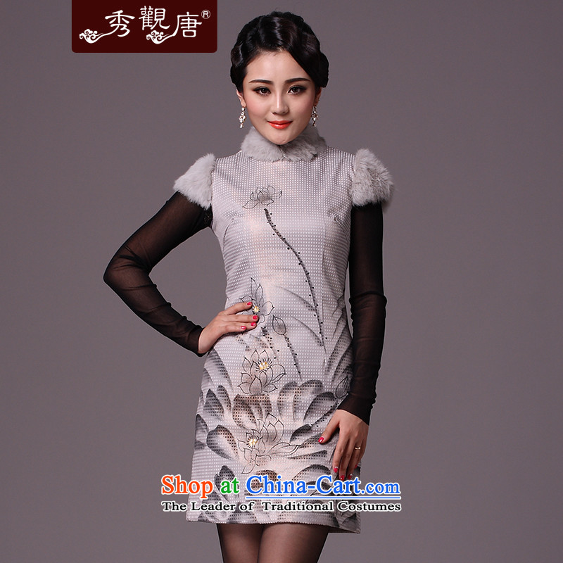 Sau Kwun Tong Zhengyan,Multimedia winter stylish improved qipao I should be grateful if you would arrange/Winter 2015 new clip cotton dress G97119 qipao White?XL