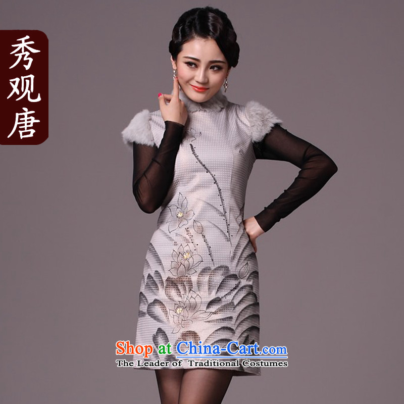 Sau Kwun Tong Zhengyan,Multimedia winter 2015, I should be grateful if you would have the new improved stylish cotton strain clip cheongsam dress _G97112 SUIT聽XL