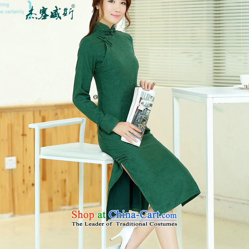Jie in the spring and summer female retro elegant long cotton linen collar manually detained improved long-sleeved pure colors with dark green qipao燲L