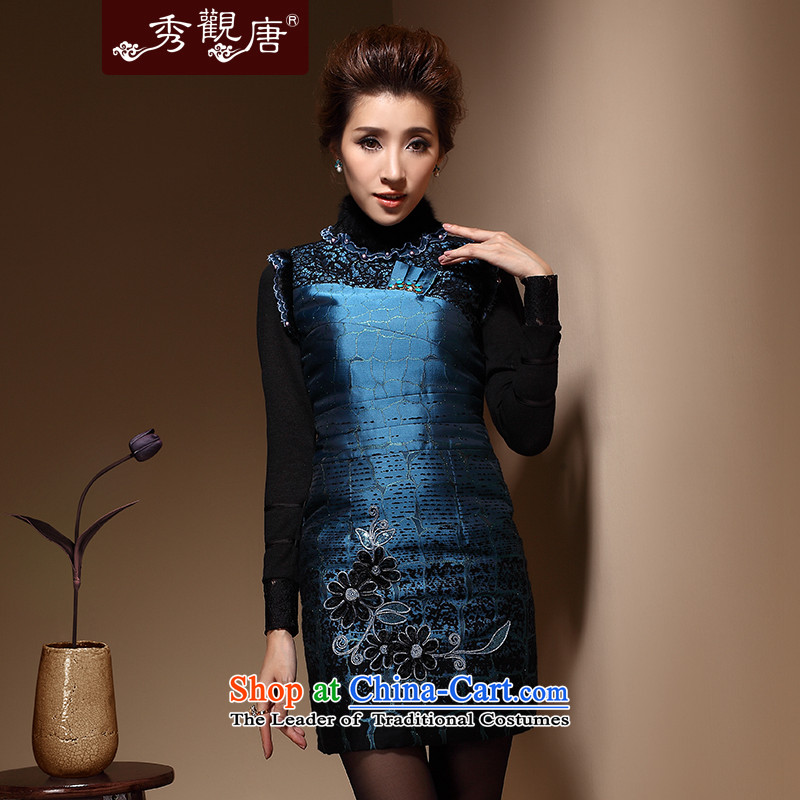 Sau Kwun Tong winter flower lovers Chinese qipao stylish gross cotton folder for the new 2014 winter embroidery Sau San dresses QM3915 DARK BLUE聽XL