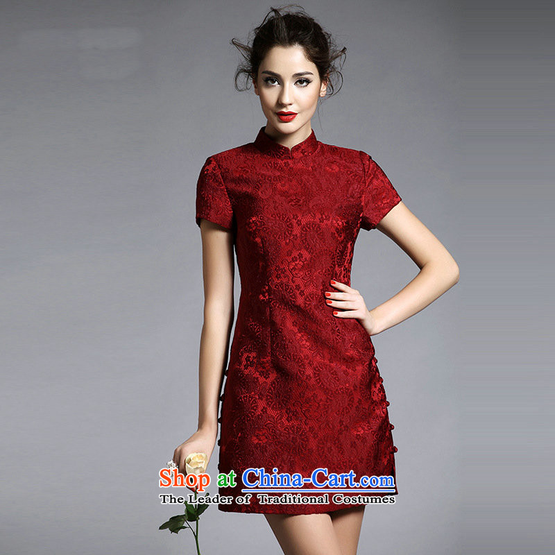Secret ME New 2014 Women's temperament elegant stylish retro ethnic improved qipao Sau San lace collar short-sleeved dresses dark red燣