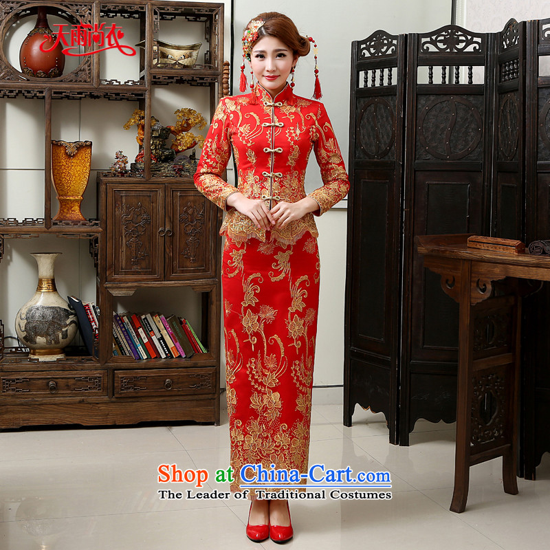 Rain-sang yi 2015 new marriage wedding dresses qipao Chinese wedding bridal dresses hotel long-sleeved long red winter women cheongsam QP567 RED燬