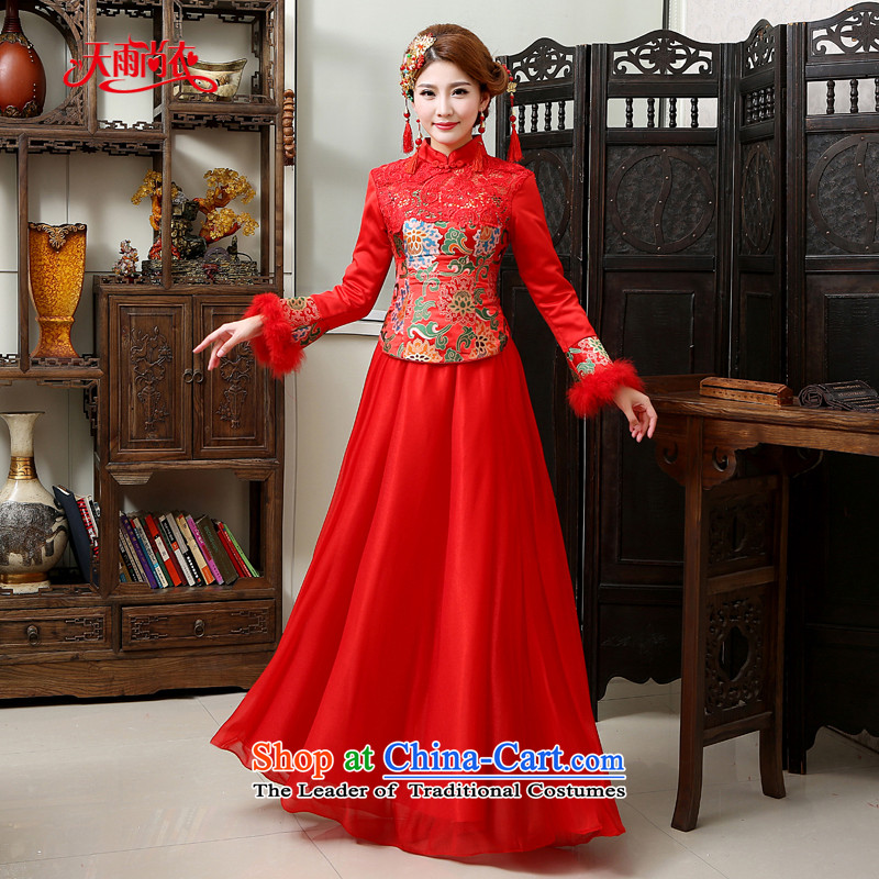 Rain-sang yi 2015 new marriage wedding dresses qipao Chinese style wedding banquet bride bows service long-sleeved long red winter women cheongsam QP568 RED燲L