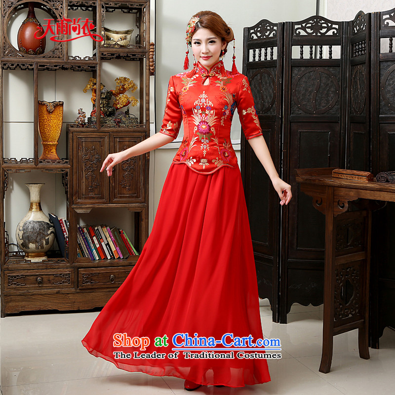 Rain-sang yi 2015 new marriage wedding dresses bride in the winter clothing cuff qipao long red bows services women cheongsam QP570 winter red燬