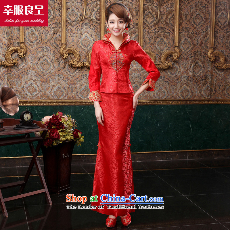 The privilege of serving-leung 2015 new autumn and winter red bride wedding dress Chinese long-sleeved qipao long winter clothing bows cloth dress?S