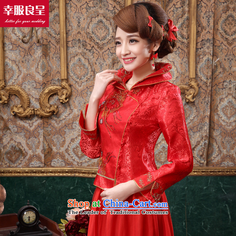 The privilege of serving-leung 2015 new autumn and winter red bride wedding dress Chinese long-sleeved qipao bows services for long winter dress XL