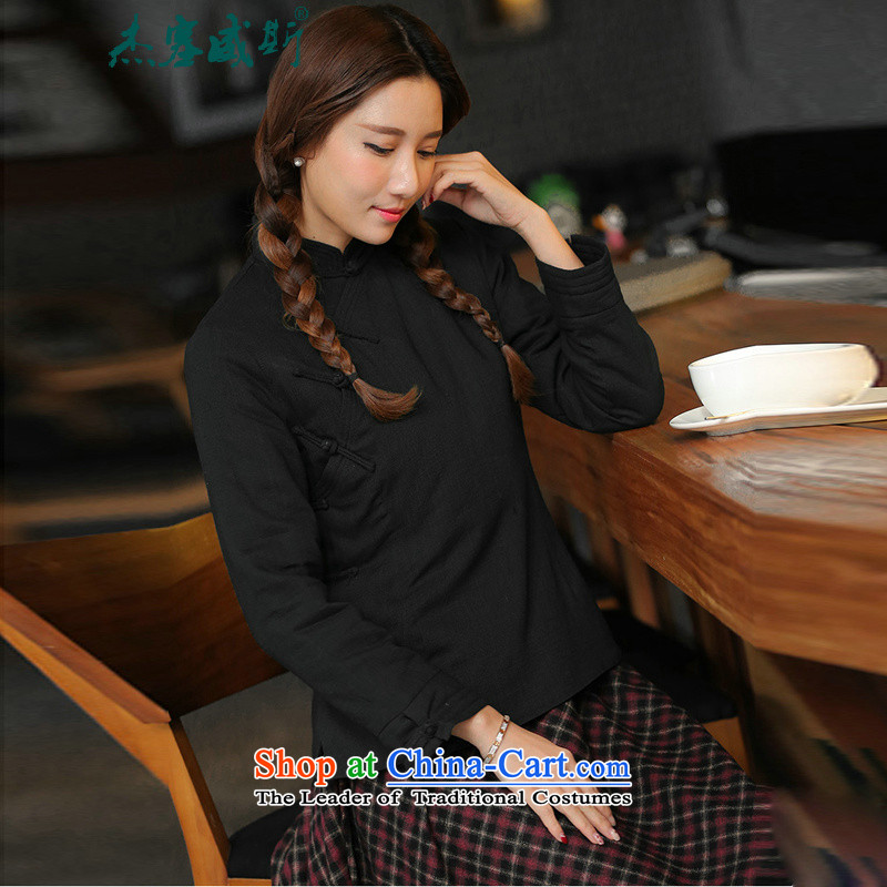 In the new Jie) Fall/Winter Collections of cotton linen collar is pressed to Chinese word manually detained ���� cotton coat black cotton-�XL