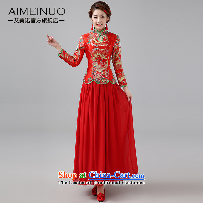 The HIV NEW 2015 marriages cheongsam red long serving Chinese antique dresses bows thick long-sleeved two kits燪0048燫ED XXL