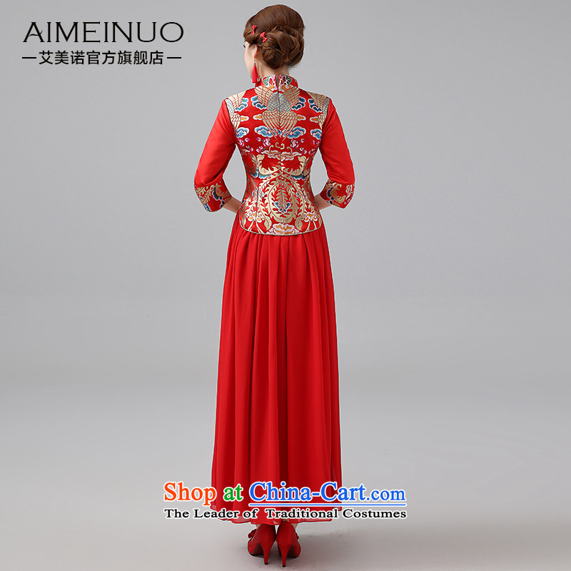 Hiv Miele 2014 winter clothing new marriages cheongsam red long serving Chinese Dress folder bows unit in long-sleeved two kits Q0044 M HIV Miele shopping on the Internet has been pressed.