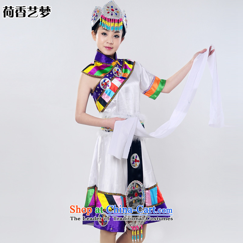 I should be grateful if you would have the Champs Elysees new arts dreams 2015 will snow white lotus Tibetan dance stage costumes national costume HXYM0031 White?M
