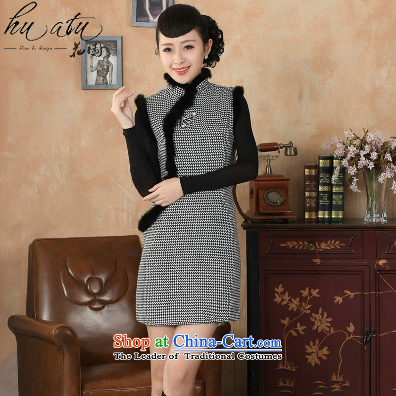 Floral Tang Women's clothes qipao Fall_Winter Collections new collar Chinese improved latticed wool rabbit hair? For cheongsam dress�-L