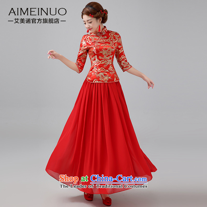 Hiv Miele marriages qipao?2015 new red long serving Chinese antique dresses bows thick long-sleeved?Q0043?RED?S