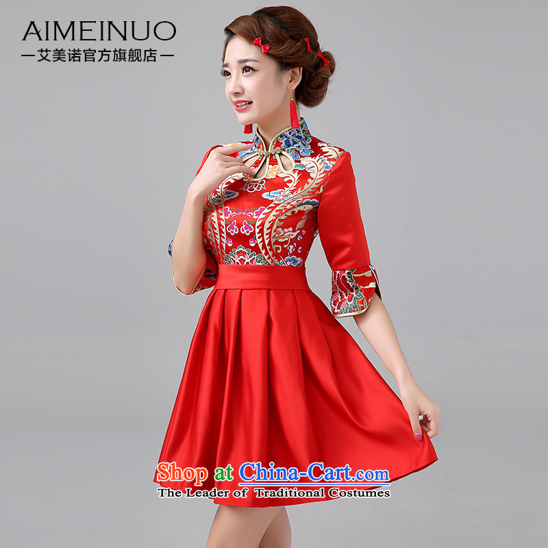 Hiv Miele marriages between?spring and summer of 2015 qipao red short, bows to Sepia Chinese Dress short skirt in cuff?Q0040?RED?M