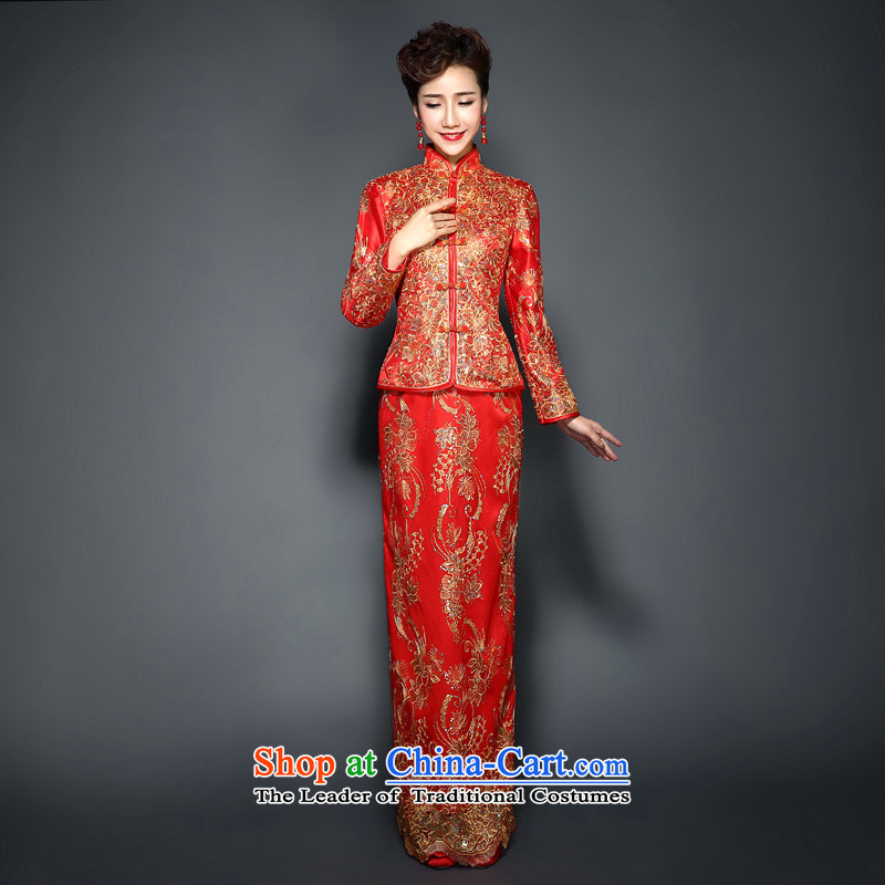 The winter of qipao red clip cotton Chinese wedding dress Sau Wo Service 2015 new long long-sleeved plus gross cotton for toasting champagne services fall bride cheongsam dress thin,燲XL