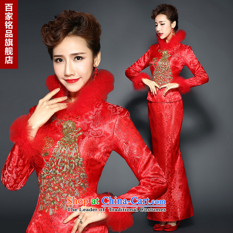 Red Winter) qipao�autumn and winter 2015 New Chinese wedding dress long long-sleeved red improved bows Sau San dress marriage with white�L
