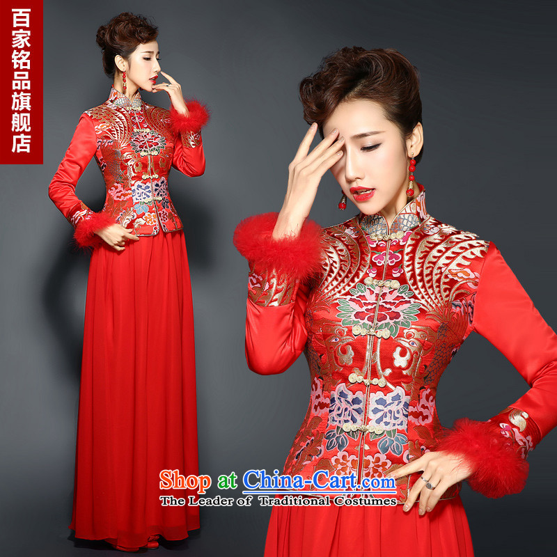 Marriage New Service bows qipao 2015 cheongsam dress marriages red long folder cotton waffle dresses retro improved autumn and winter RED燤