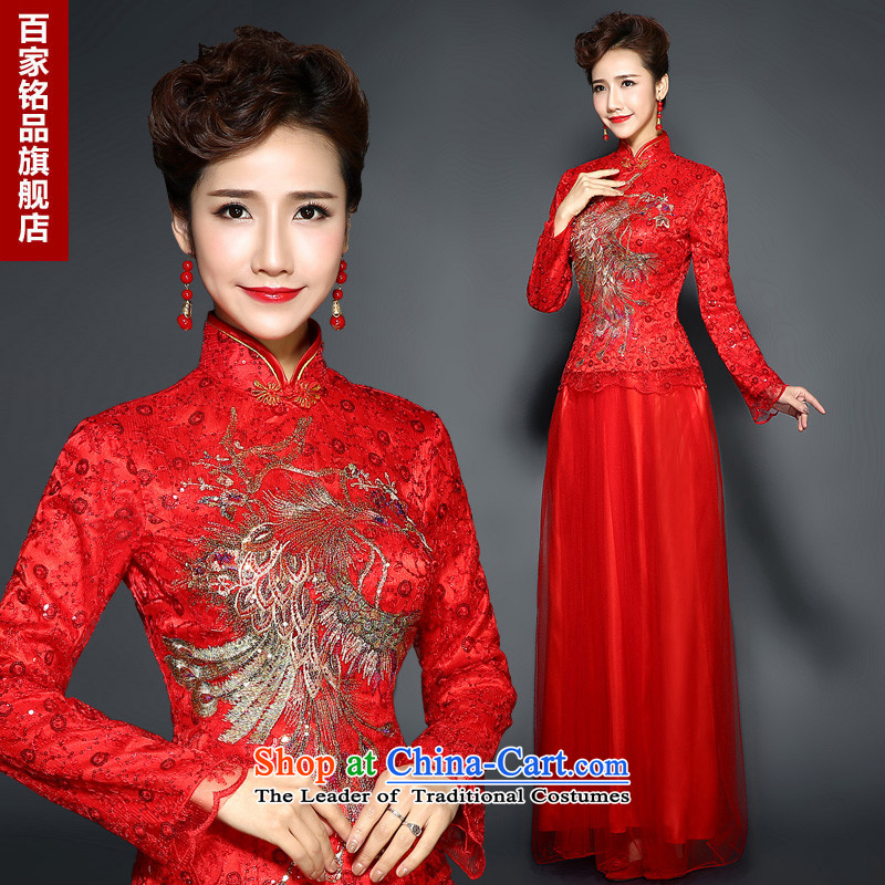 The winter of qipao skirt female�new bride toasting champagne 2015 serving long dresses retro red marriage cheongsam dress the cotton-thick winter RED�M
