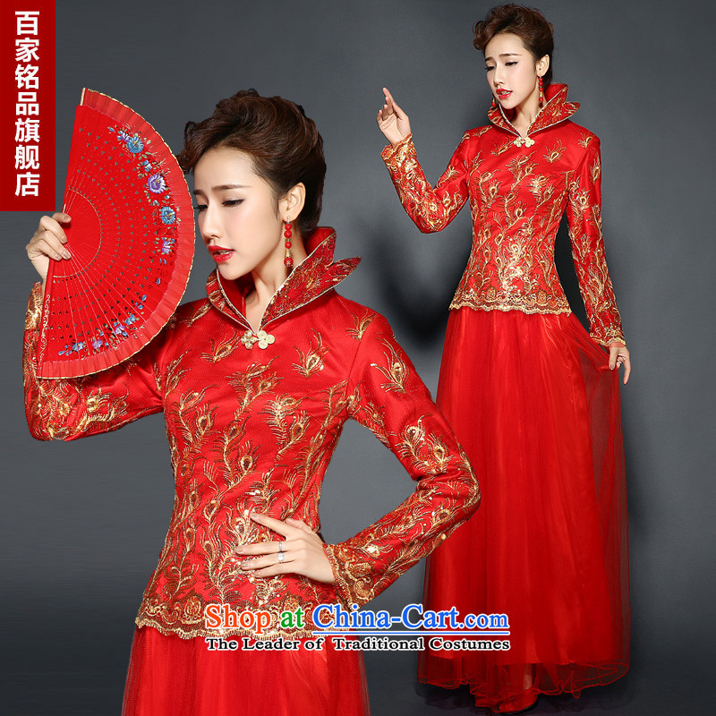 Qipao winter clothing bows services red long�15 new autumn and winter marriages bows services improved long-sleeved folder retro cotton winter clothing bows dress RED燤