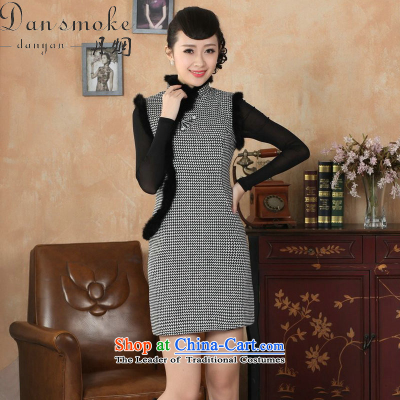 Dan smoke Tang Women's clothes qipao Fall_Winter Collections new collar Chinese improved latticed wool rabbit hair? For cheongsam dress�-XL