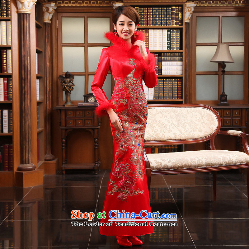 The privilege of serving-leung 2015 new winter bride wedding dress cotton qipao Chinese winter clothing crowsfoot long red winter_ bows services燲L