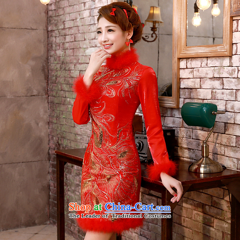 The privilege of serving-leung 2015 new winter red Chinese bride winter wedding dress bows service, red winter) of qipao skirt?L