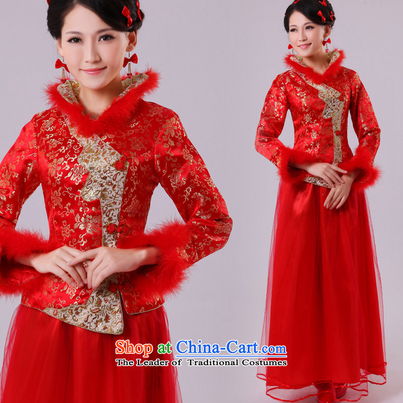 The privilege of serving-leung 2015 new winter replacing Chinese wedding dress qipao bride red wedding dress bows services for larger leaders Mao Dongsheng�5XL PLUS)