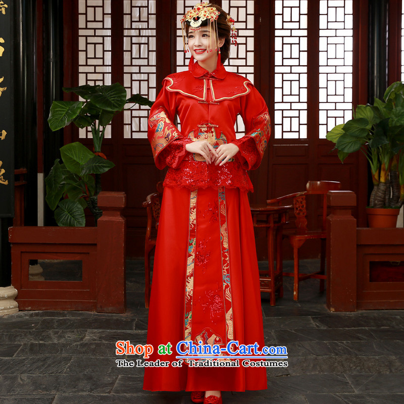The privilege of serving-leung 2015 new bride wedding dress wedding dress Sau Wo Service services to the dragon use qipao bows and red-soo Wo Service聽2XL