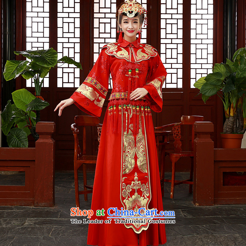 The privilege of serving-leung 2015 new wedding dress Soo Wo Service Bridal wedding dress qipao bows services use su kimono red dragon Sau Wo Service燬