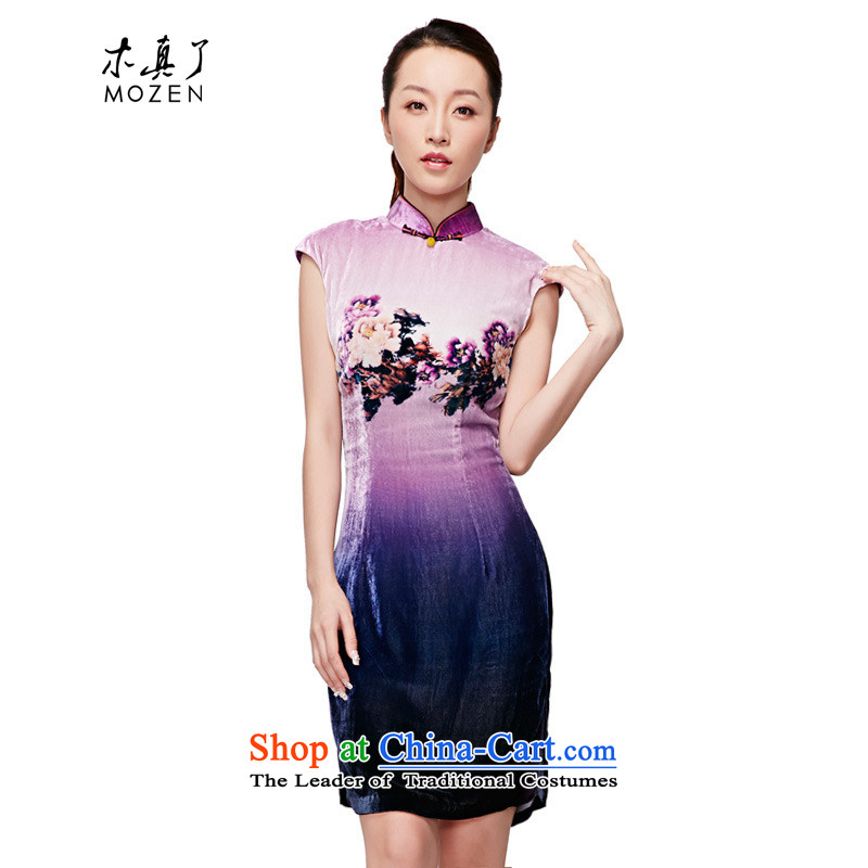 The MOZEN2015 wood really spring and summer New floral velvet short-sleeved gown female 11516 elegant qipao 17 light purple燲L