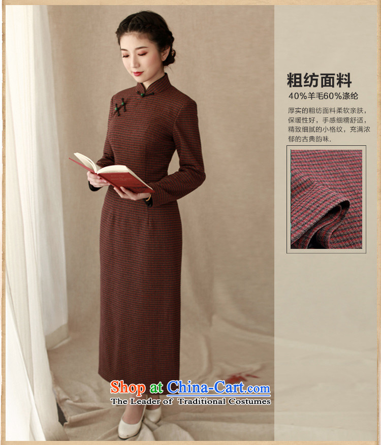 The elections as soon as possible the impact Yat lady autumn and winter female wool cheongsam dress chidori grid is traversed by the long-sleeved shirt, long long skirt deep red聽2XL Photo, prices, brand platters! The elections are supplied in the national character of distribution, so action, buy now enjoy more preferential! As soon as possible.