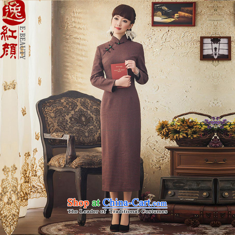 The elections as soon as possible the impact Yat lady autumn and winter female wool cheongsam dress chidori grid is traversed by the long-sleeved shirt, long long skirt deep red 2XL