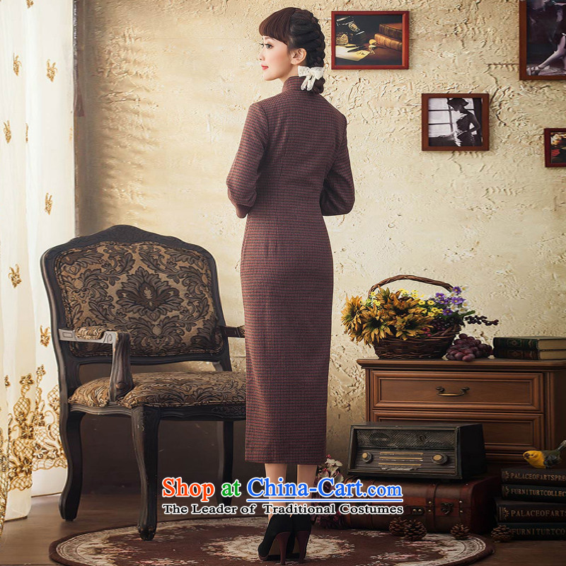 The elections as soon as possible the impact Yat lady autumn and winter female wool cheongsam dress chidori grid is traversed by the long-sleeved shirt, long long skirt deep red聽2XL, Yat Lady , , , shopping on the Internet