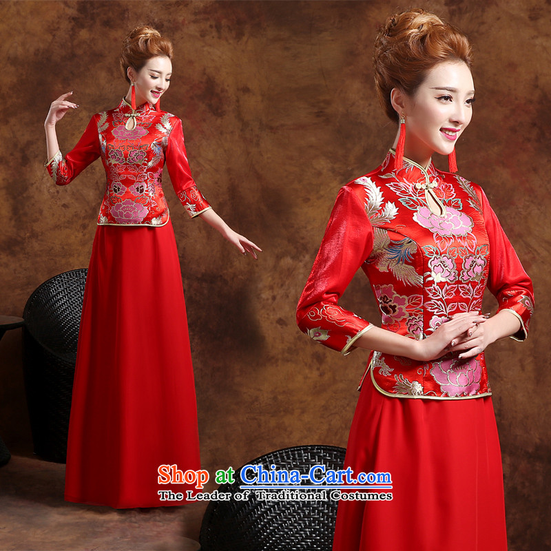 Long-sleeved long service dress winter stylish bows 2015 new marriages of Sau San winter clothing qipao winter retro bows stylish bows services cheongsam red聽S