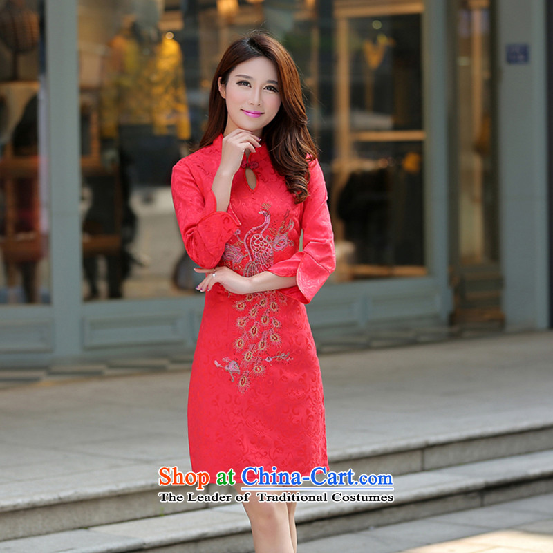 Xiaoman new summer 2015+ of Chinese Dress skirt Korean brides bows services Sau San Tong large thin graphics load cheongsam dress with skirt cheongsam dress in china red sleeved fw燤