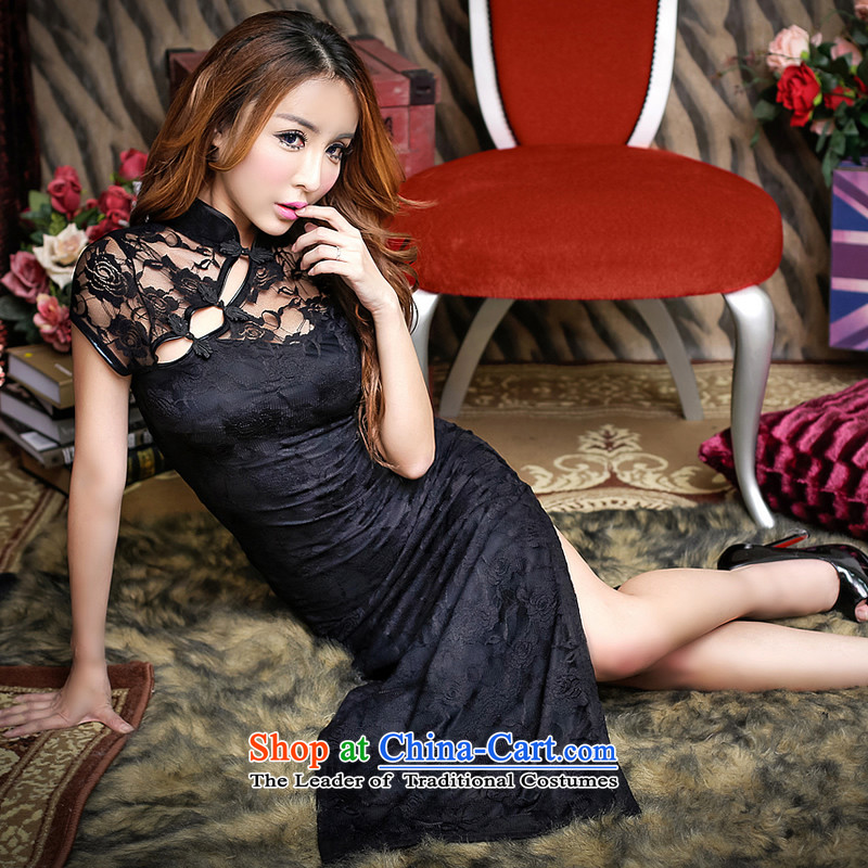 The fire of sexy improved cheongsam dress long temperament retro lace evening dresses of the forklift truck girls high toasting champagne wedding services nightclubs female autumn and winter YD8831 black?M_80-105 catty_