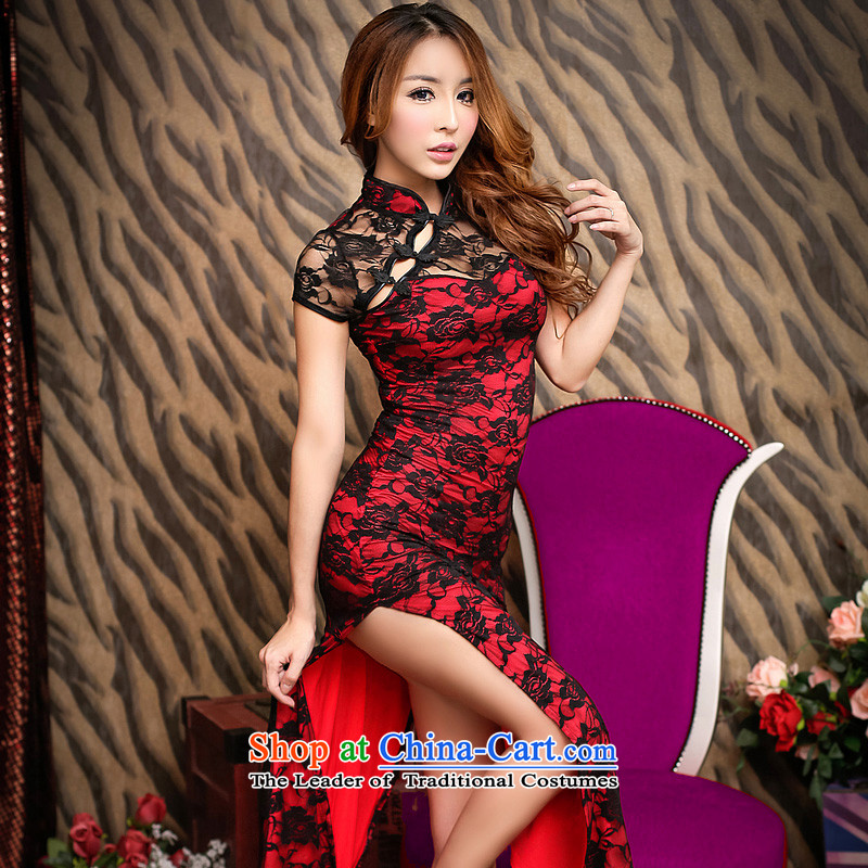 The fire of sexy improved cheongsam dress long temperament retro lace evening dresses of the forklift truck girls high toasting champagne wedding services nightclubs female YD8831 M(80-105 autumn and winter black), the burden of medicines and fire , , , s