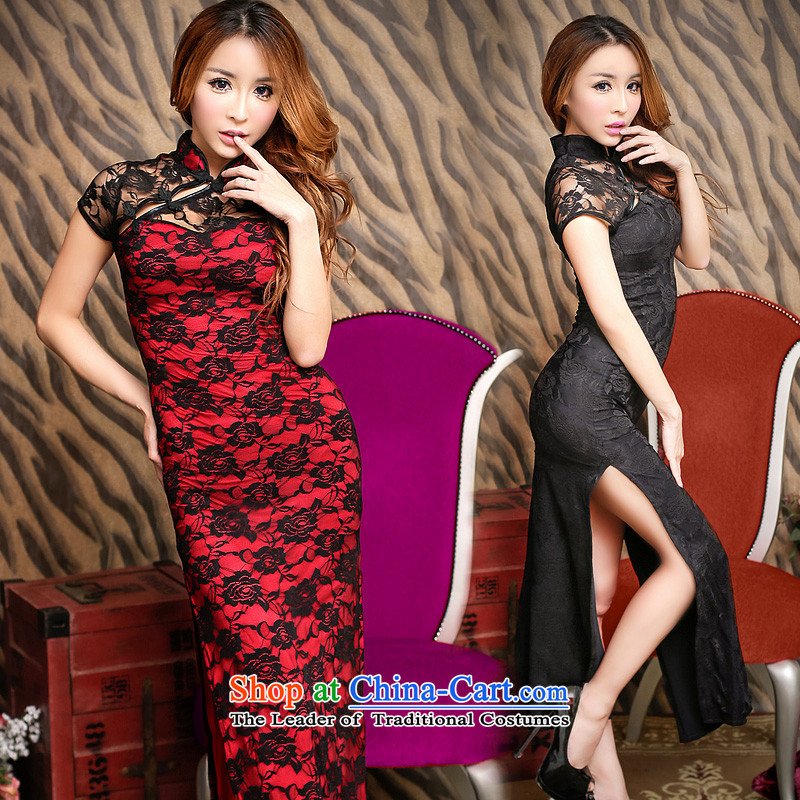 The fire of sexy improved cheongsam dress long temperament retro lace evening dresses of the forklift truck girls high toasting champagne wedding services nightclubs female YD8831聽M(80-105 autumn and winter black), the burden of medicines and fire , , , s