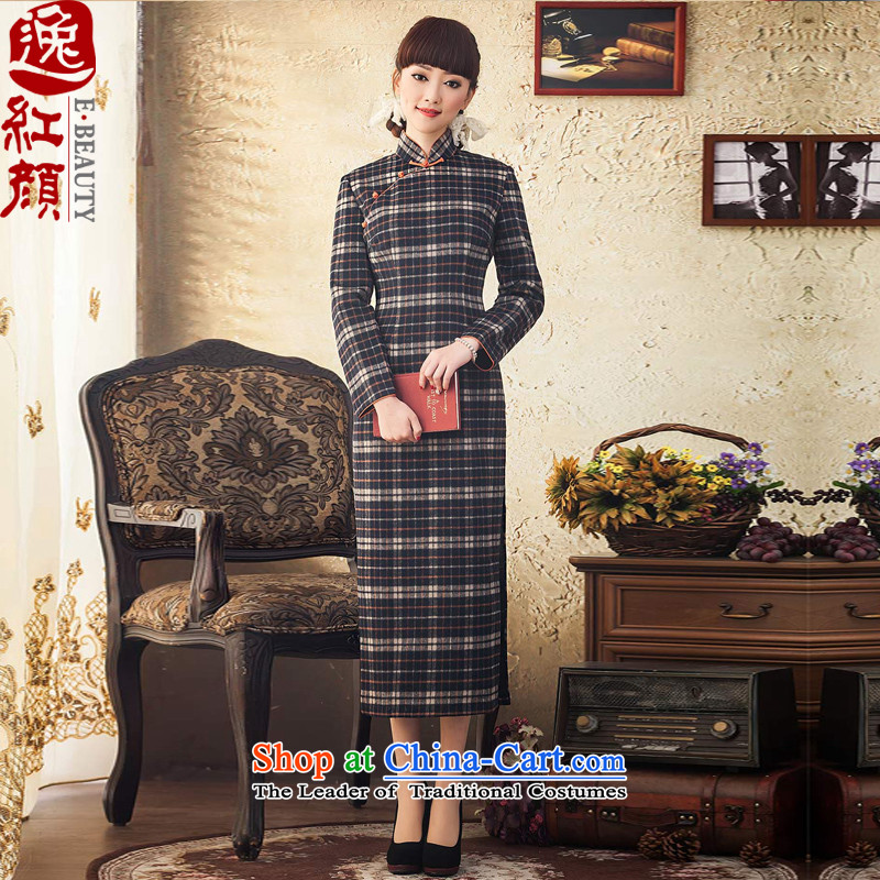 A Pinwheel Without Wind-Ju-il woolen fabric, chess qipao winter clothing retro long-sleeved cheongsam dress 2015 new temperament improved cheongsam dress black�L