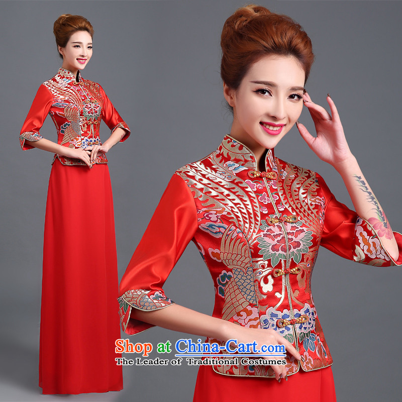 Lily Dance bows services 2015 autumn and winter cheongsam dress qipao new red retro marriages service long-sleeved Sau San bows bows services cheongsam dress red聽L