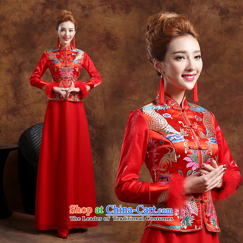 However service qipao new marriage 2015 winter bows services wedding dresses long-sleeved Chinese qipao toasting champagne marriages to dress red thick red qipao Sau San聽XL