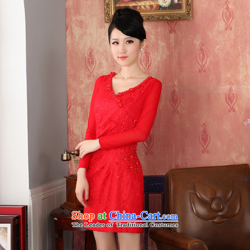 Oriental aristocratic counters genuine long-sleeved Sau San-solid color embroidery short, creases lace cheongsam dress short female_ bows service bridal dresses燤