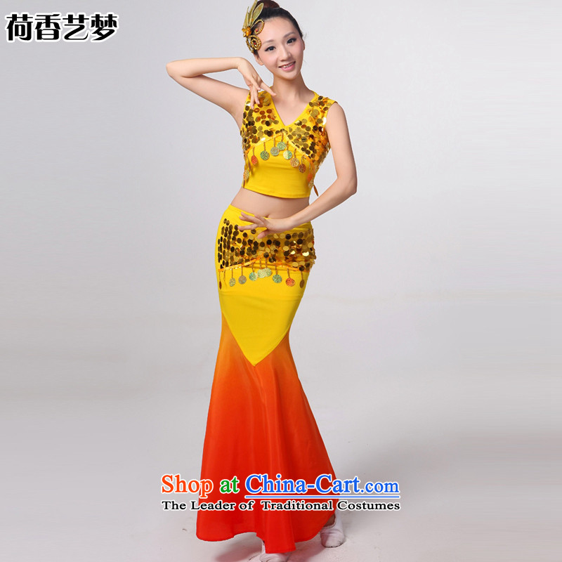 I should be grateful if you would have let the dai heung Arts Dance costumes 2015 Yunnan ethnic minorities on the peacock dance piece crowsfoot skirt will Sau San yellow?S