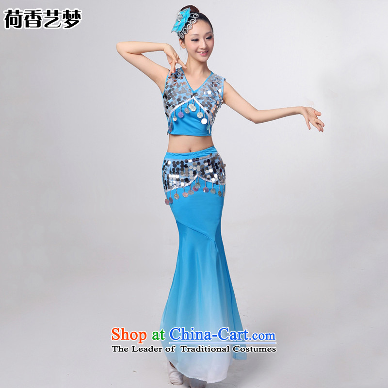 I should be grateful if you would have let the dai heung Arts Dance costumes 2015 Yunnan ethnic minorities on the peacock dance piece skirt HXYM0032 crowsfoot Sau San blue?XXL