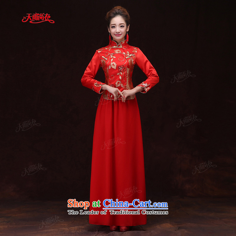 Rain-sang yi 2015 new marriage wedding dresses bows Service Bridal long-sleeved red qipao long winter Tang dynasty women cheongsam QP571 RED?S